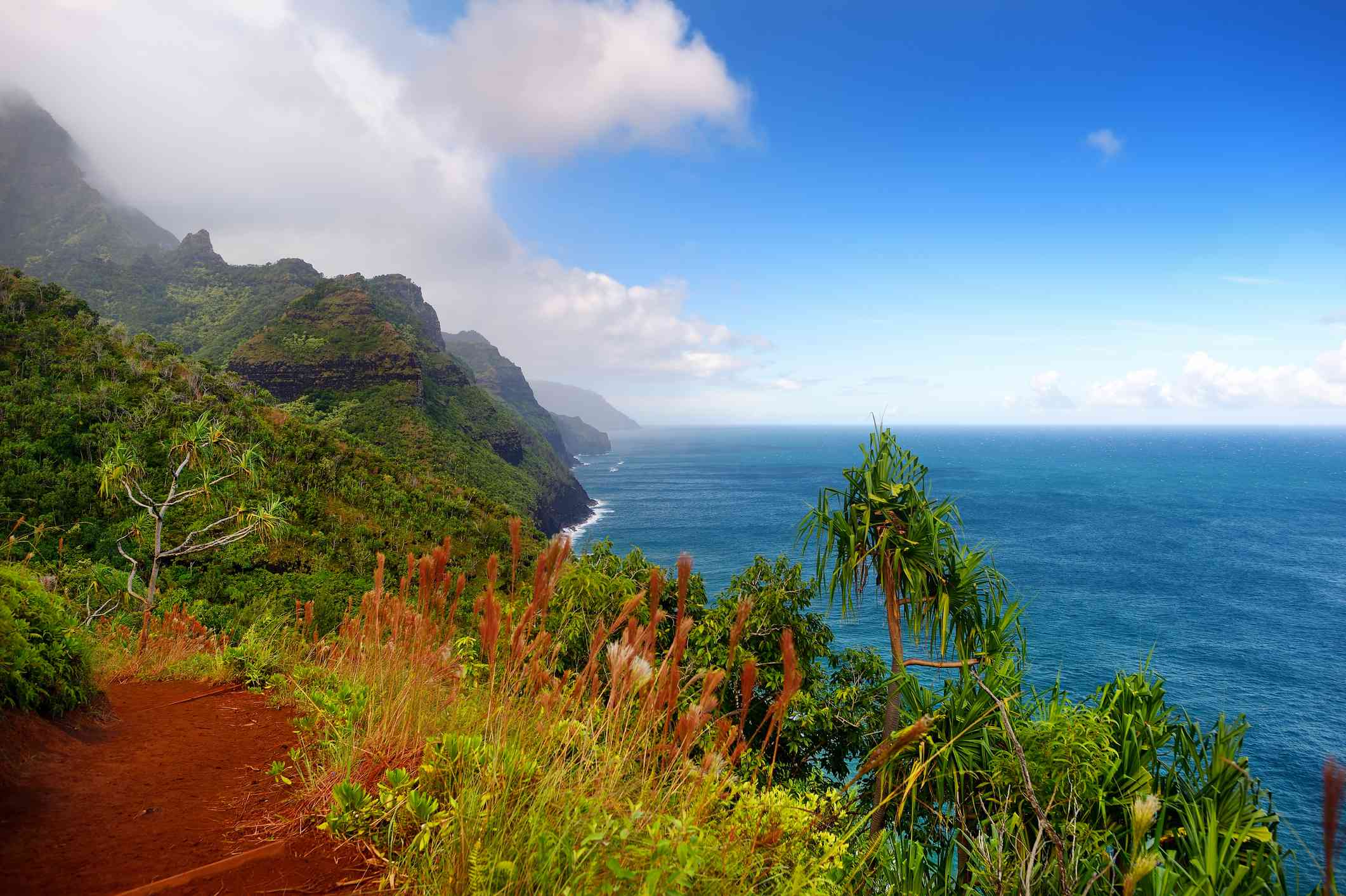 A view from the trail at Kalalau on Kauai, Hawaii