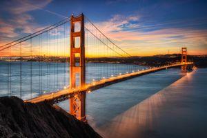 dusk at the golden gate bridge