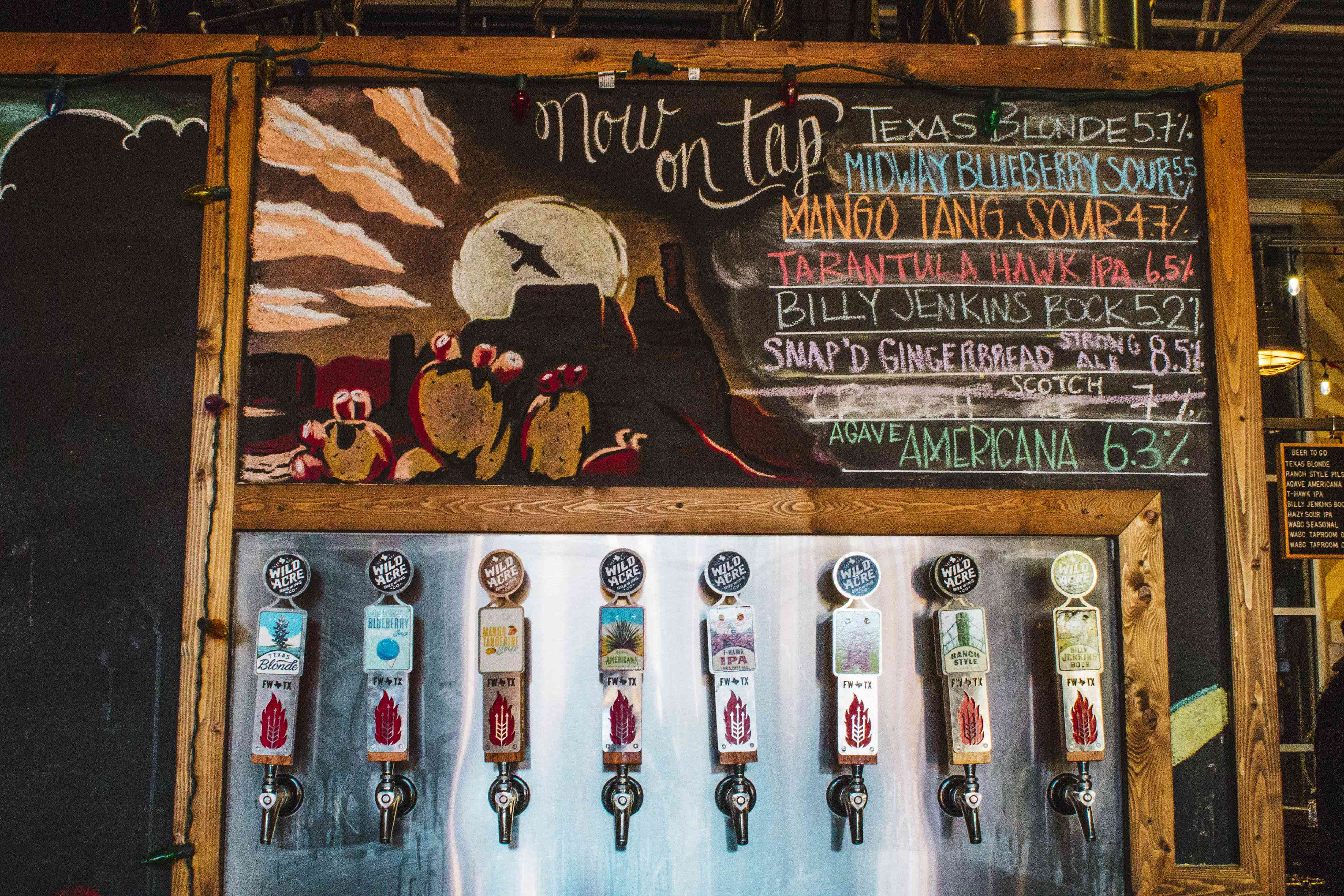 Beers on tap at Wild Acre