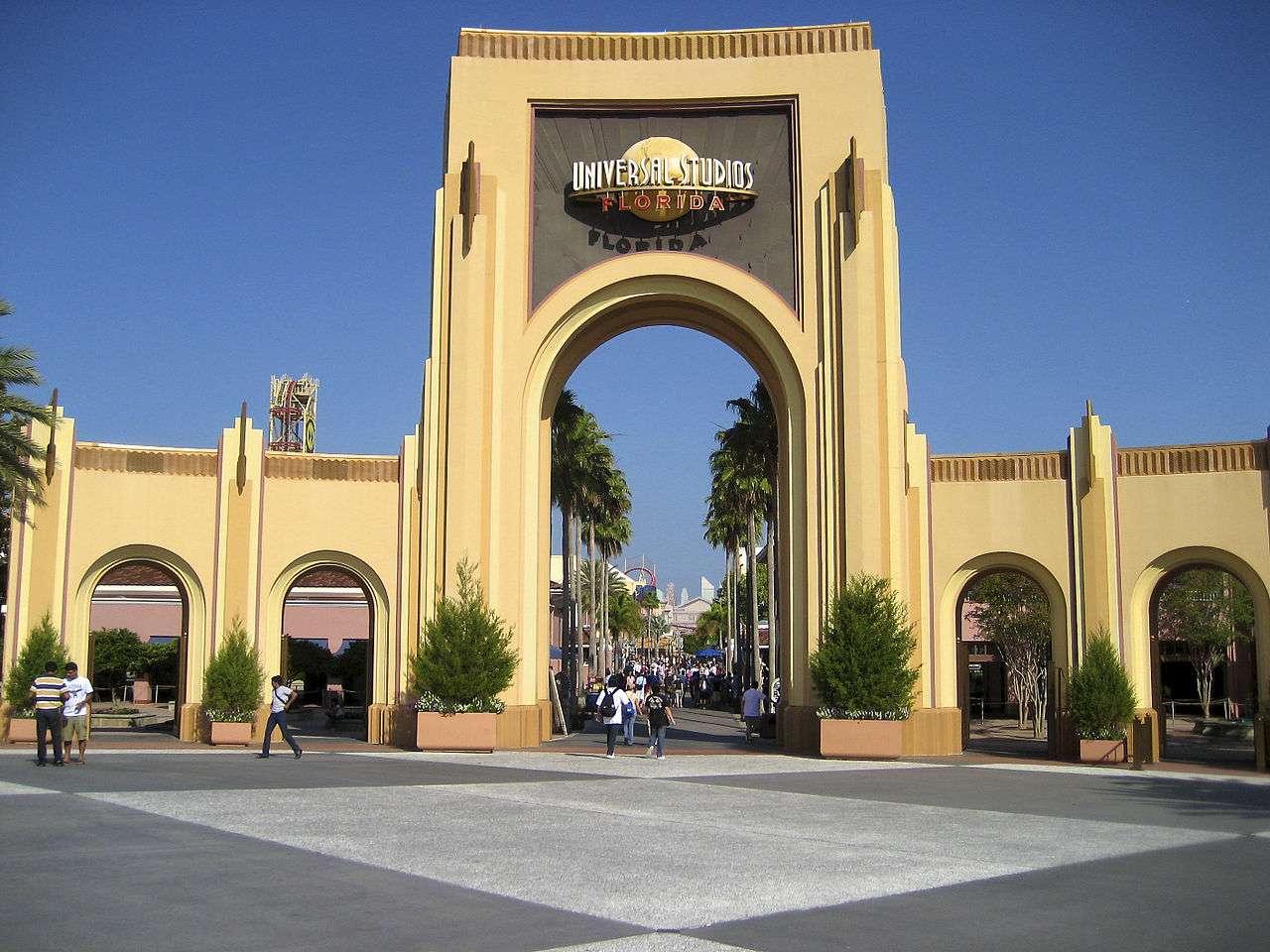 The entrance gate to Universal Studios Florida taken during park opening