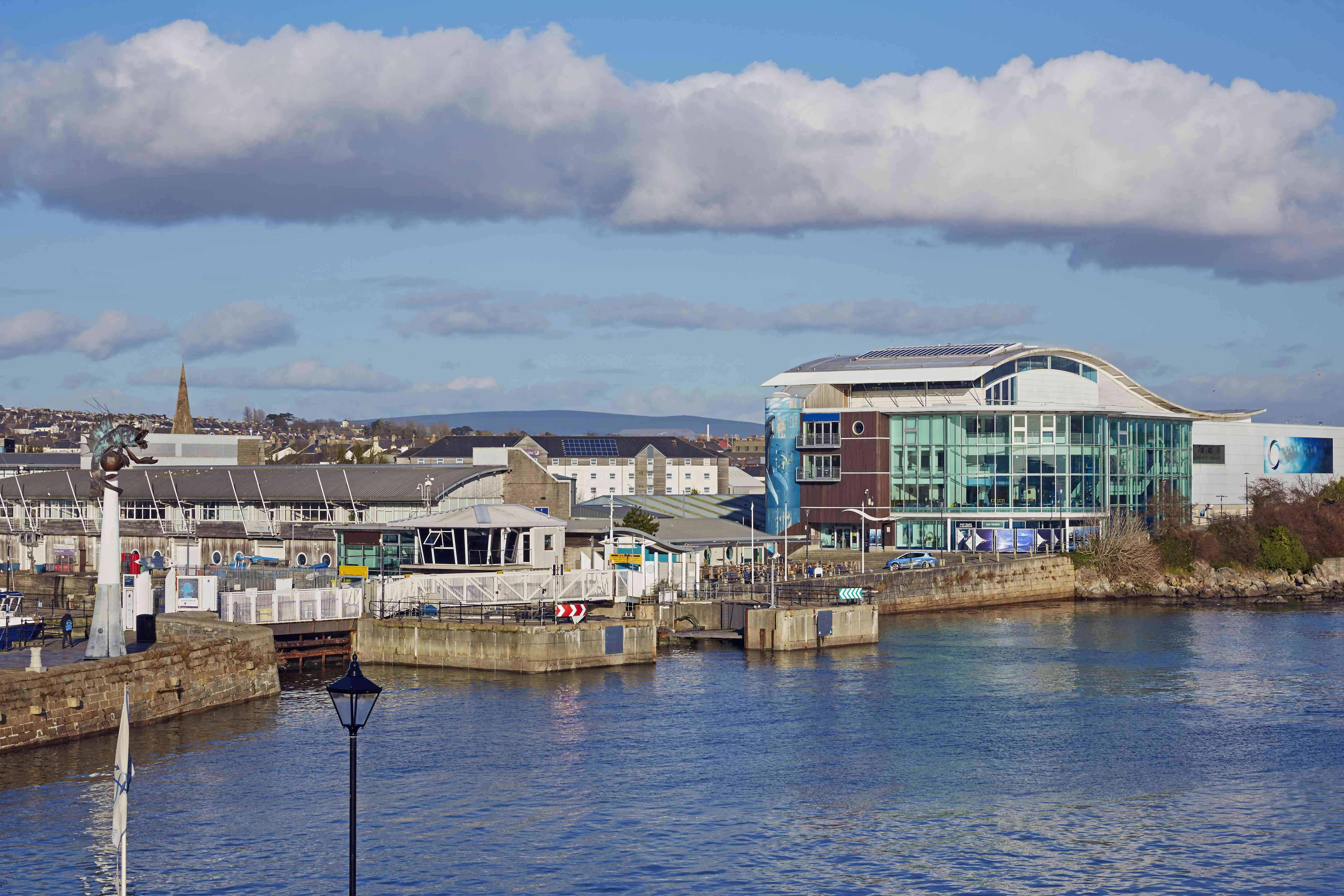 Elevated view of Plymouth harbour and National Marine Aquarium