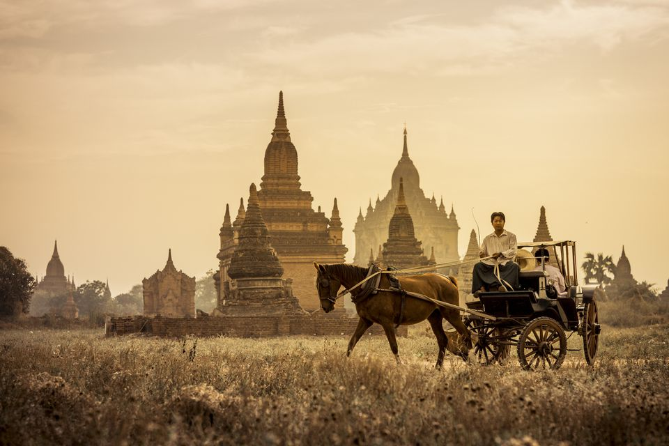 Horse-drawn carriage in Bagan, Myanmar