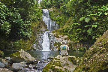 Tourist by waterfall in rain forest, Pico Bonito National Park, Honduras