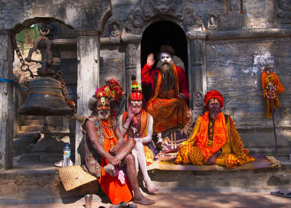 Sadhu holy men at Pashupatinath Temple