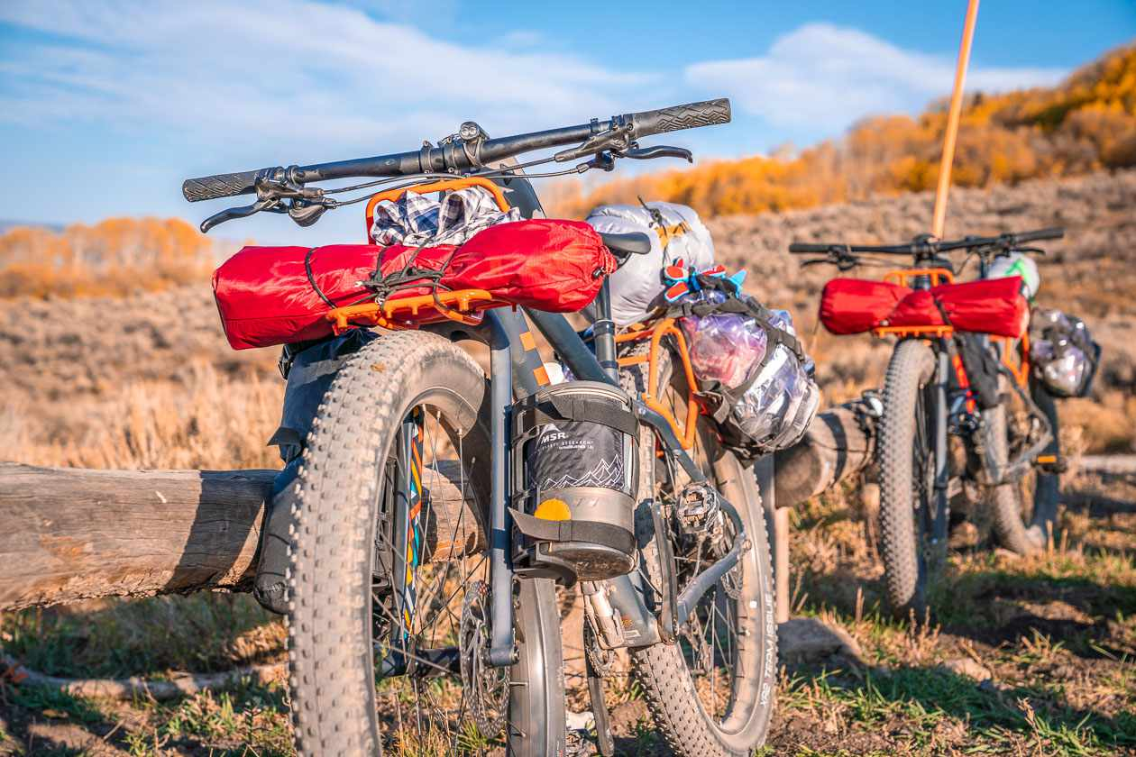a packed bike for a multi-sport trip