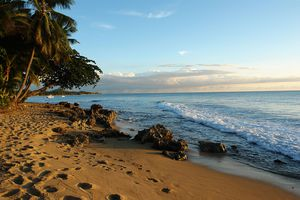 The Caribbean side of the island, Rincon, Puerto Rico.
