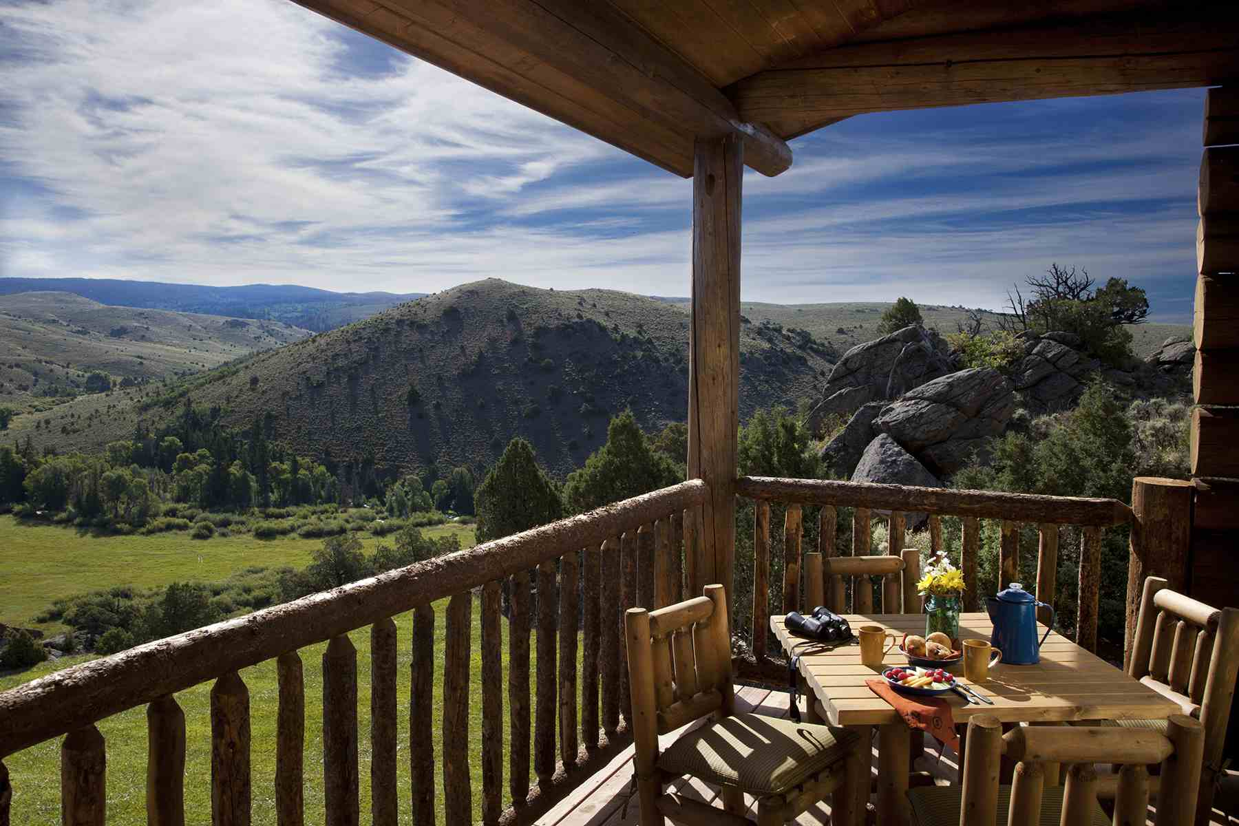 A view from a cabin at Brush Creek Ranch in Saratoga, Wyoming.