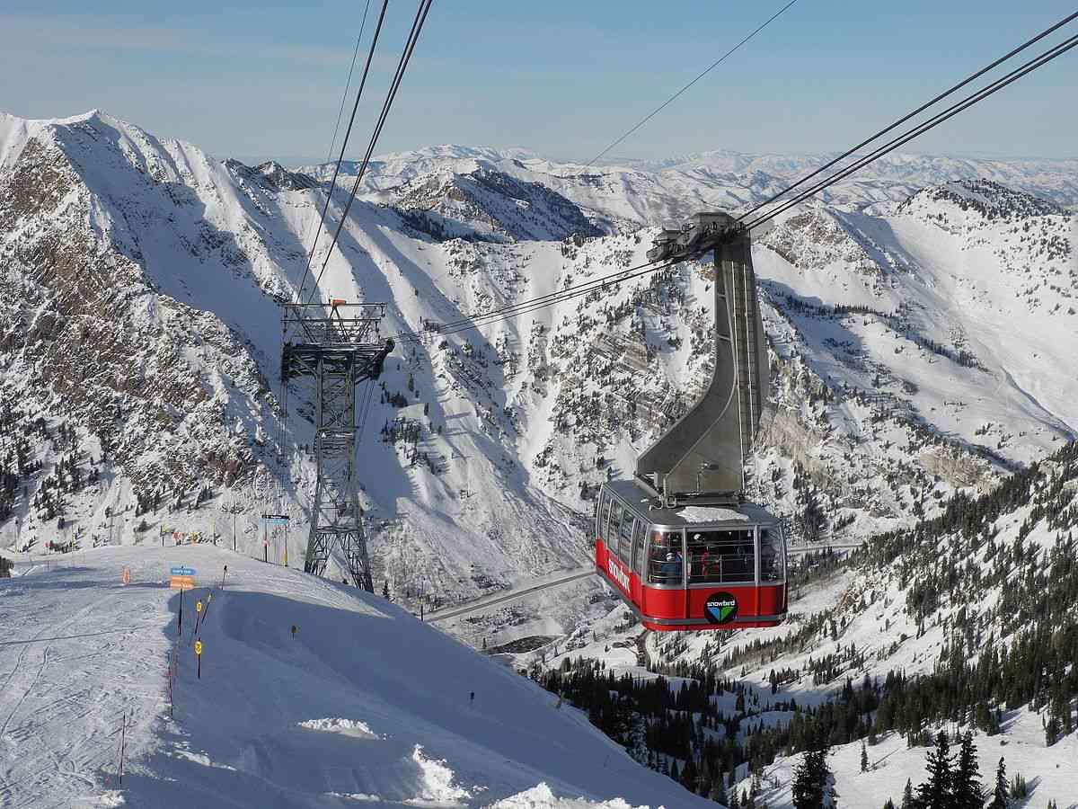 The Aerial Tram cable car at Snowbird Ski and Summer Resort
