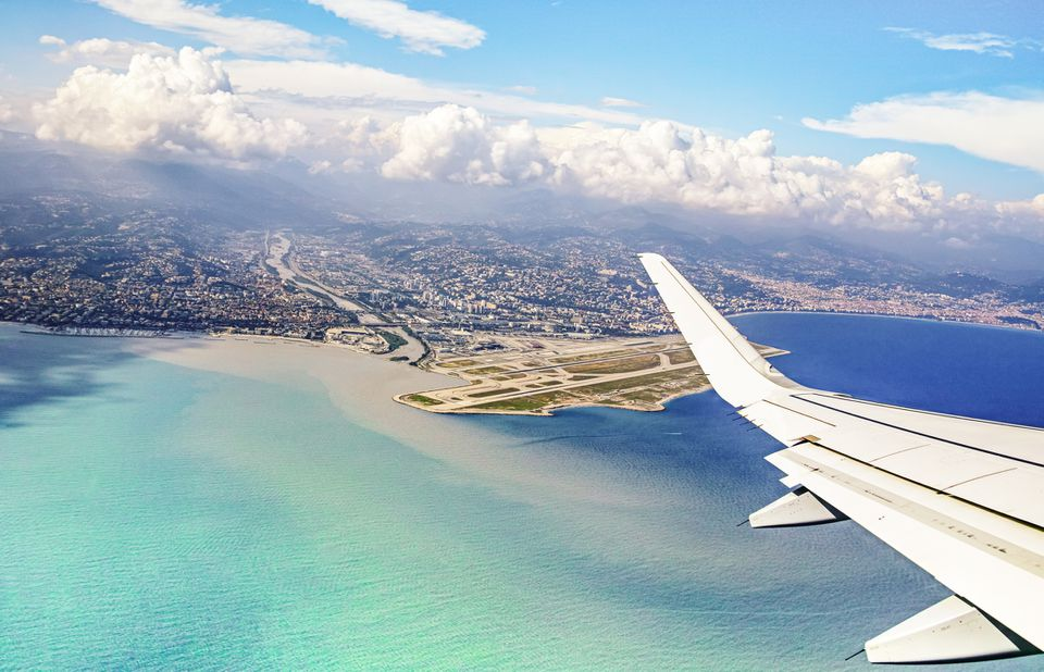 Plane landing at a French Riviera airport, France