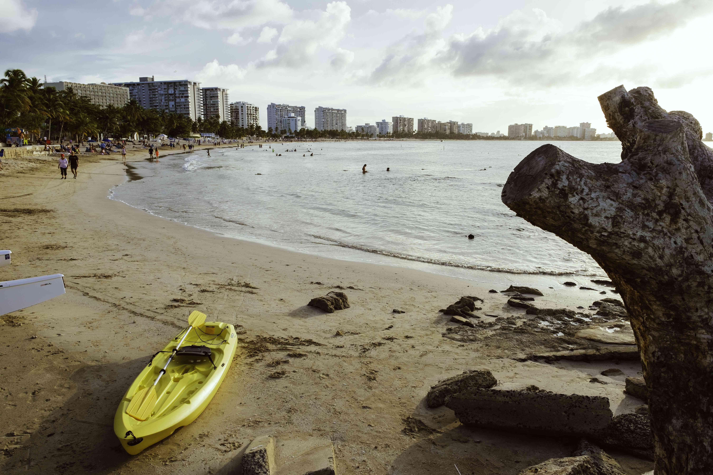A kayak on the beach at Isla Verde Beach