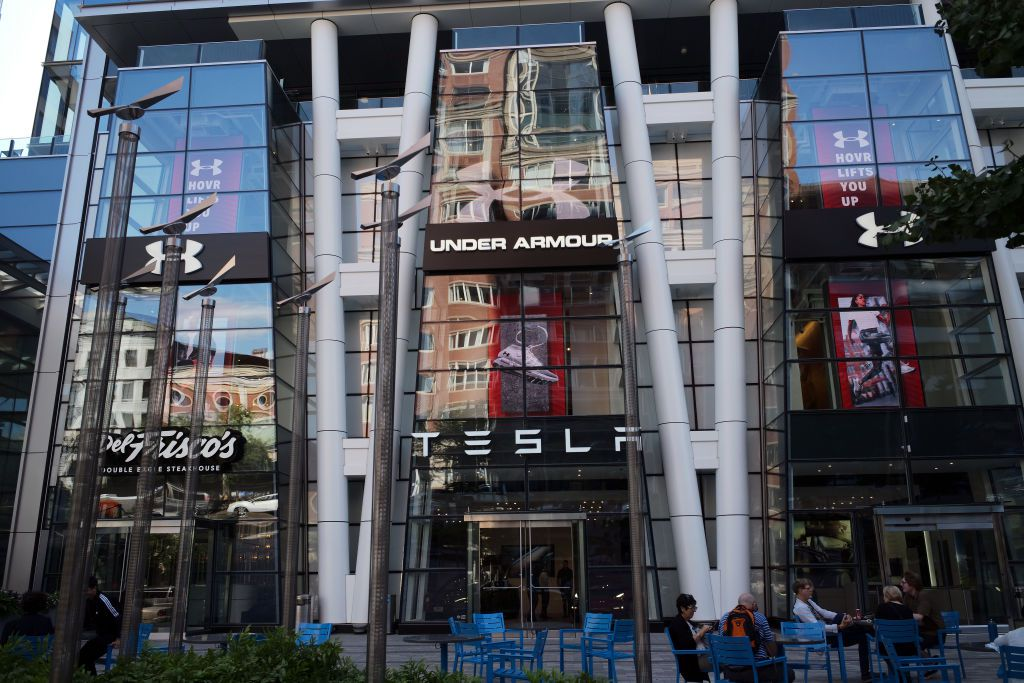 29397c3bb827f5 A general view of the TESLA and Under Armour stores at the Prudential  Center on Boylston