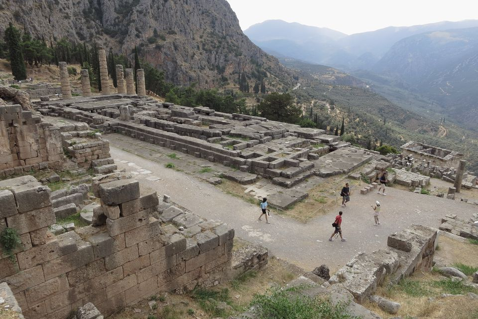 Elevated view of the Palace of Apollo in Delphi
