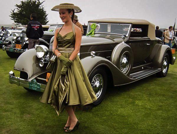 Vintage Packard and vintage dress