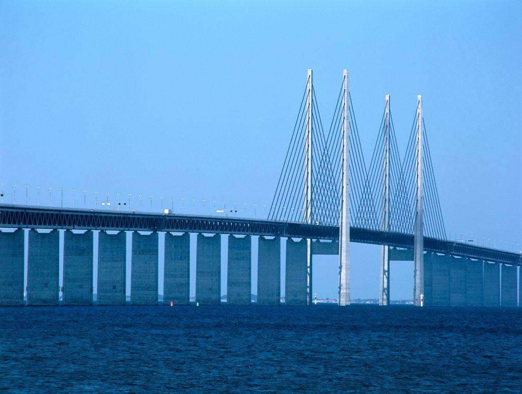 Oresund Bridge. Linking Malmo, Sweden and Copenhagen, Denmark.