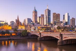 Cityscape of Melbourne city of Australia during the sunset.