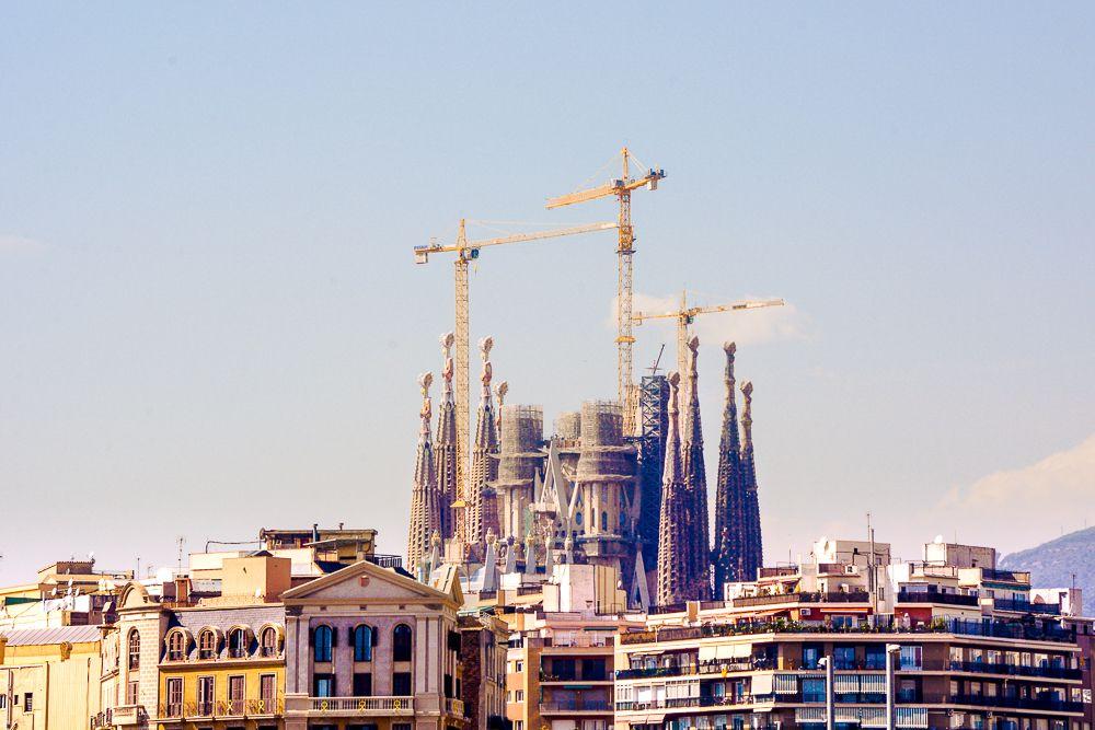 The Sagrada Familia towering over the surrounding buildings