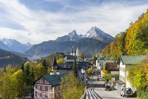 Town of Berchtesgaden and Mt Watzmann in Bavaria