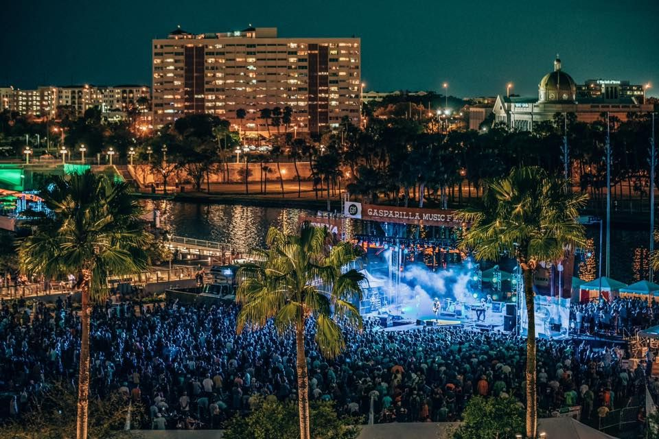 Stage and crowd at Gasparilla Music Festival during the evening