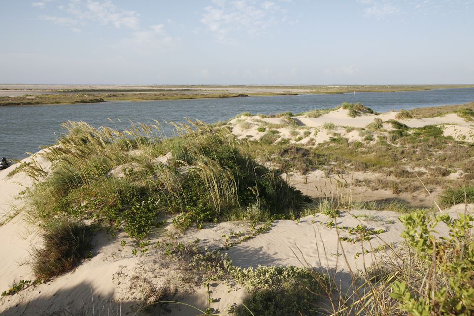 Sand dunes on the south side of the East Cut, a navigation channel that runs from Port Mansfield, to the Gulf of Mexico