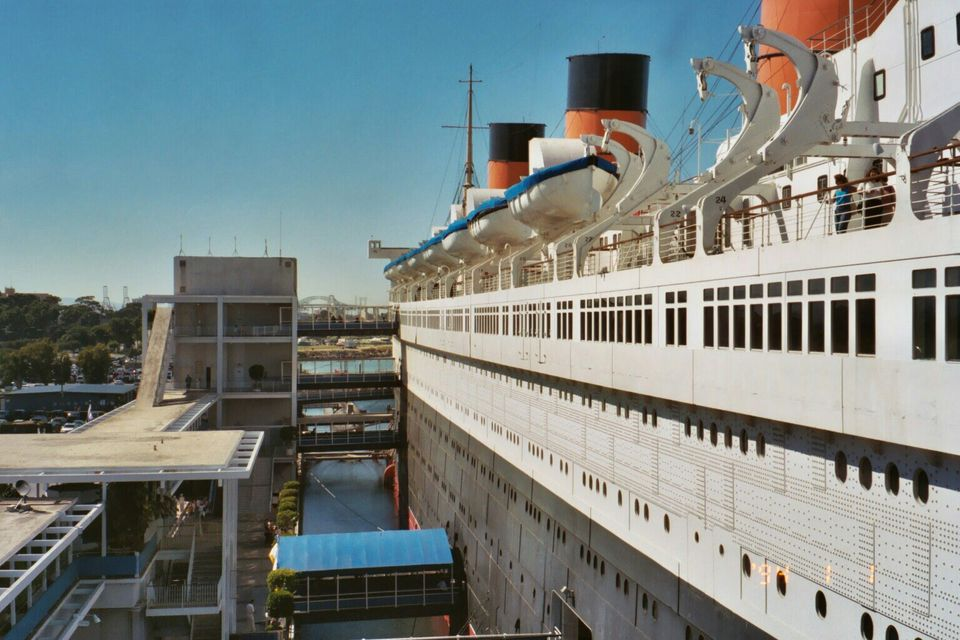 Boarding the Queen Mary in Long Beach
