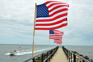 American Flags at Jennings Beach