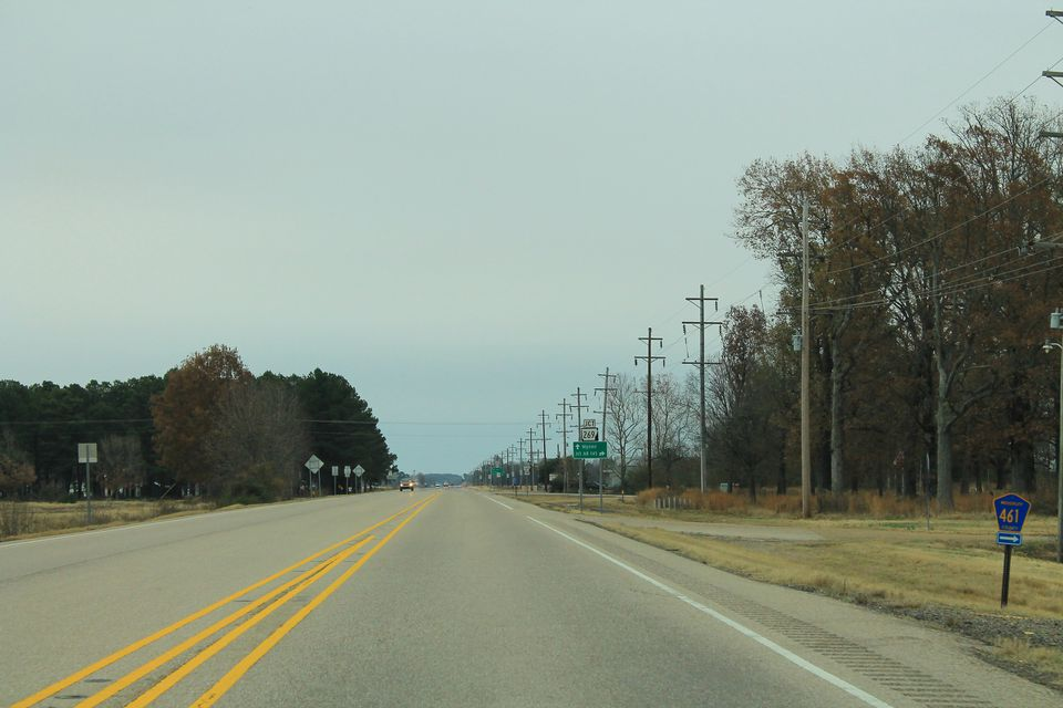 A street scene of a rural area along US Route 64 in Arkansas