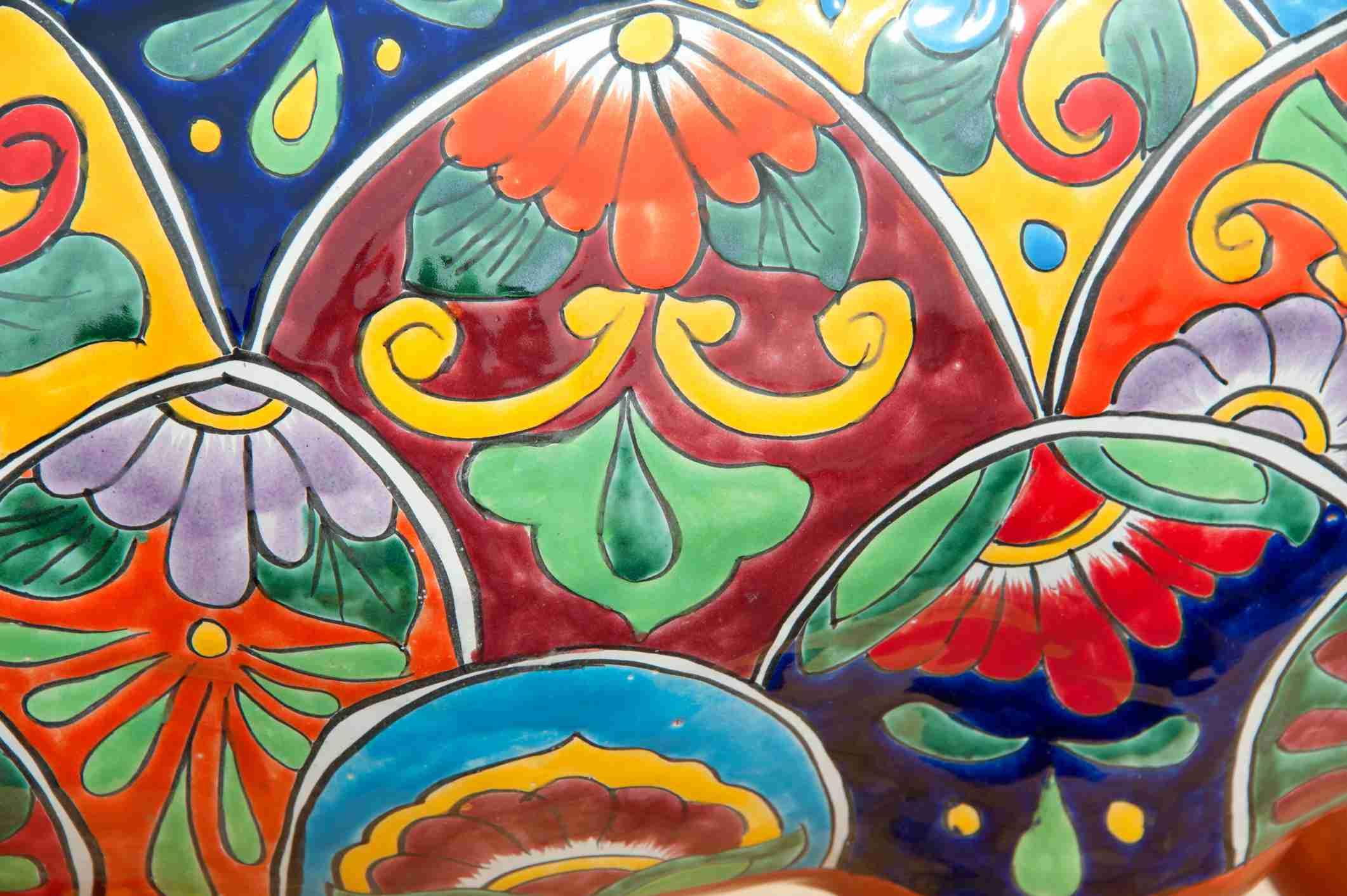 Detail on Talavera pottery