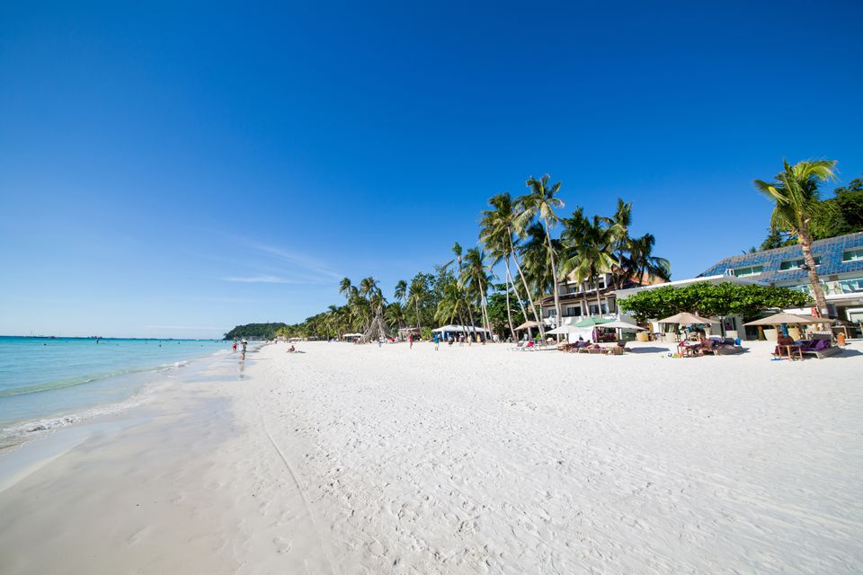White sand and blue sky at Boracay Island, Philippines