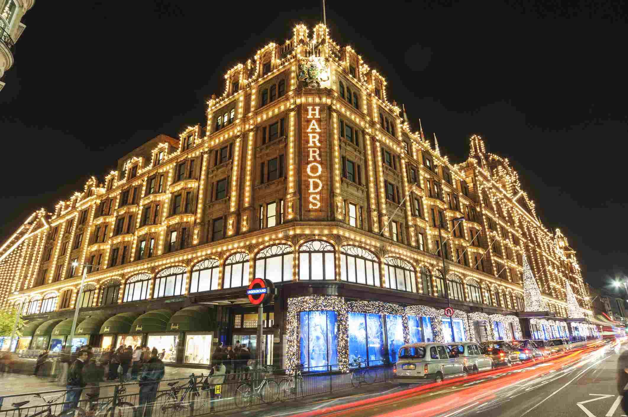 Harrods storefront in Knightsbridge, London