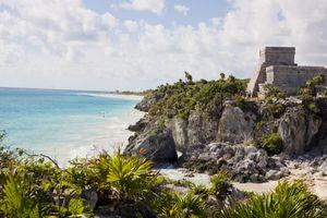 El Castillo (The Castle) over Caribbean Sea, Maya ruins at Tulum, Yucatan Peninsula