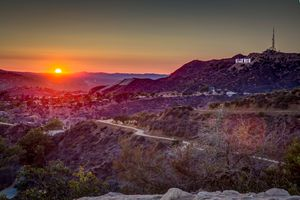 View Of Hollywood Landscape At Sunset