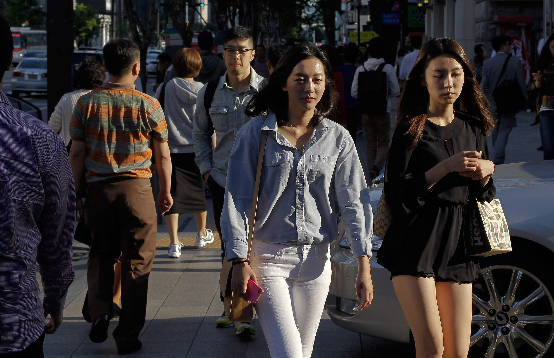 People walking in Seoul, Korea