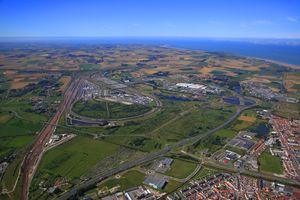 France, Northern France, Pas de Calais. Calais. Eurotunnel site and Cite Euopr mall.