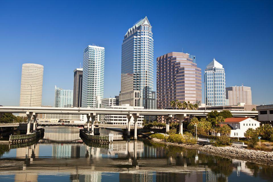 Tampa Florida skyline morning USA