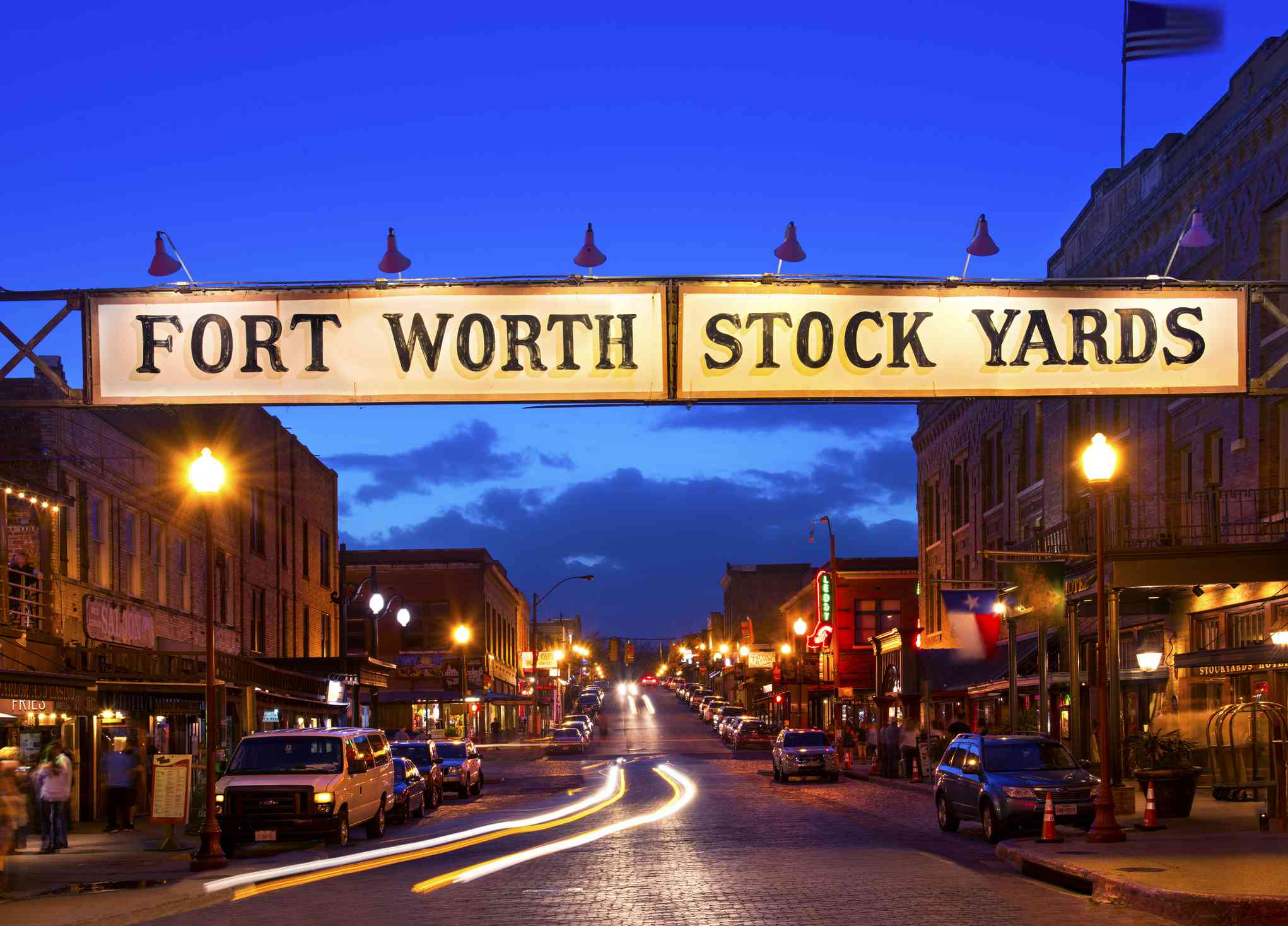 Fort Worth Stock Yards sign at twilight