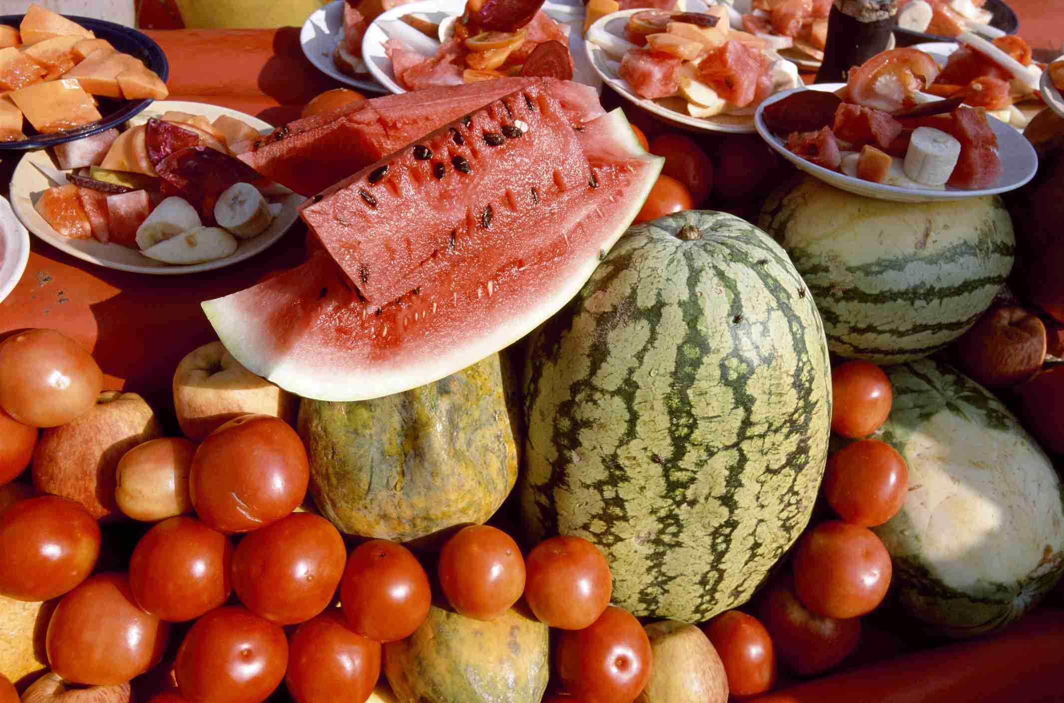 Close-up of fruits at a market stall