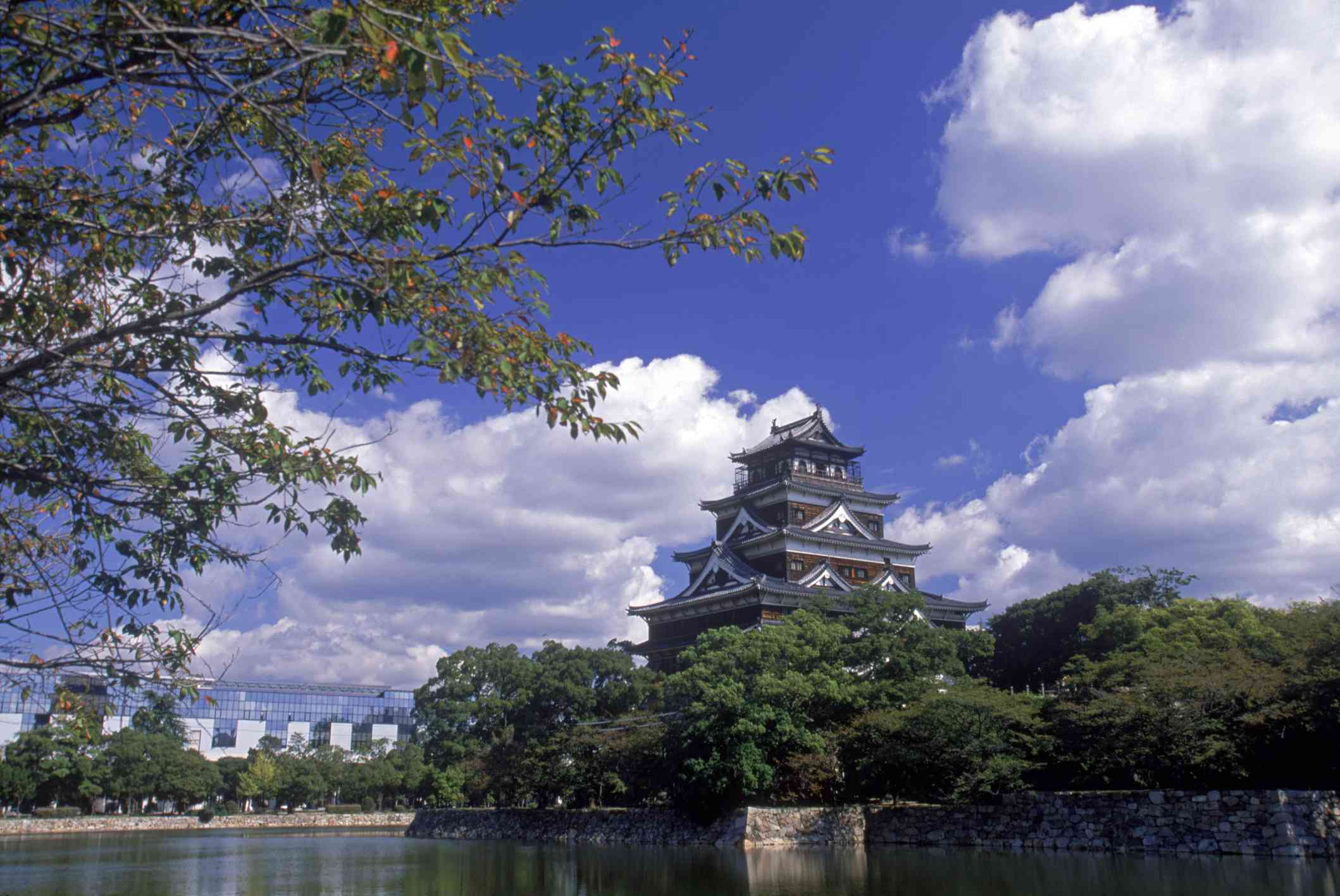 Hiroshima Castle photographed from a distance
