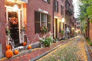 Urban area decorated for Halloween