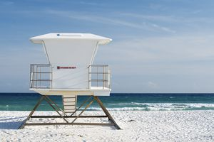 Lifeguard tower on the beach, Navarre, Florida, USA