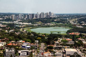 Aerial view of Barigui Park, Curitiba, Brazil