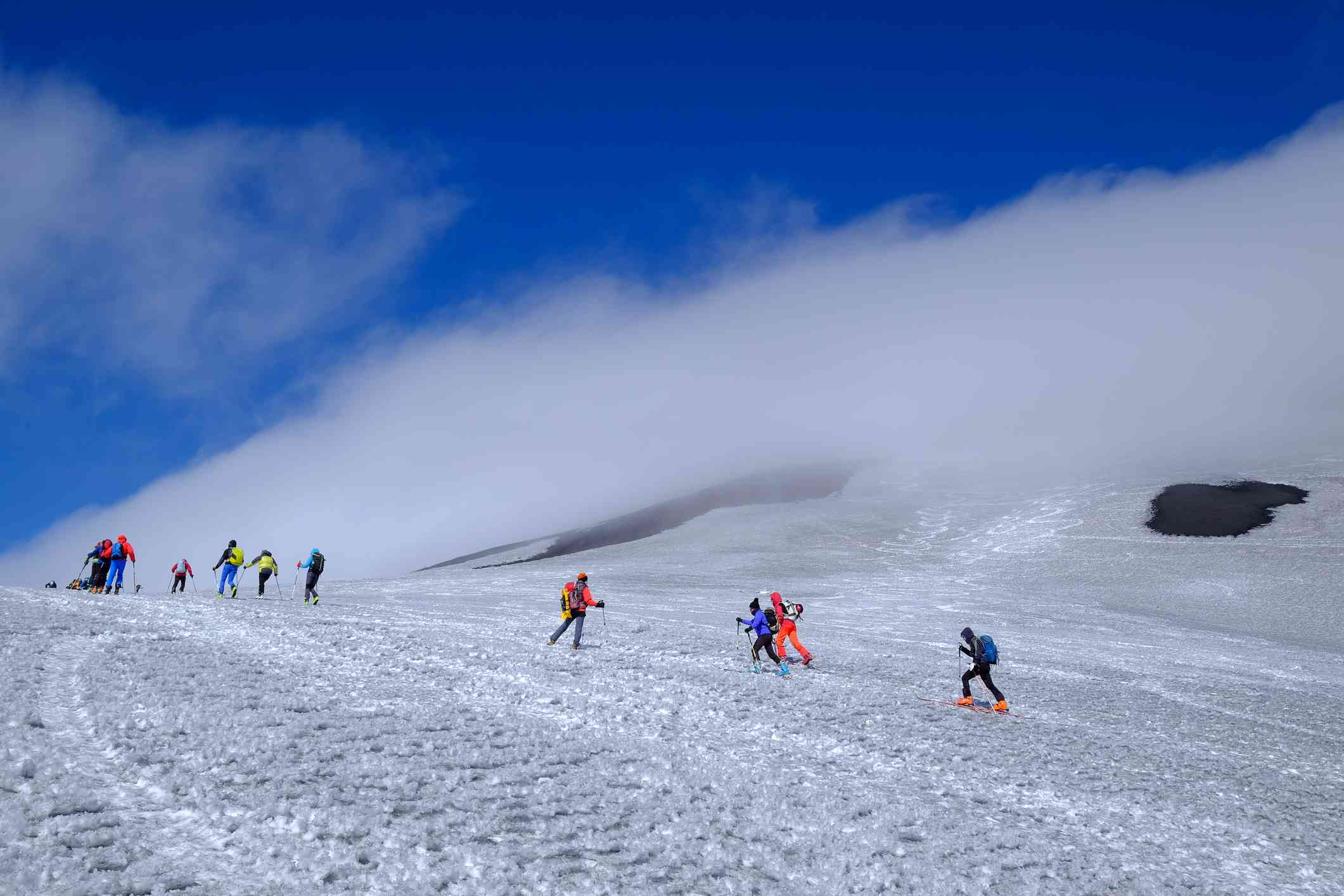 Ski mountaineering on Mount Etna, UNESCO World Heritage Site, Catania, Sicily, Italy, Europe