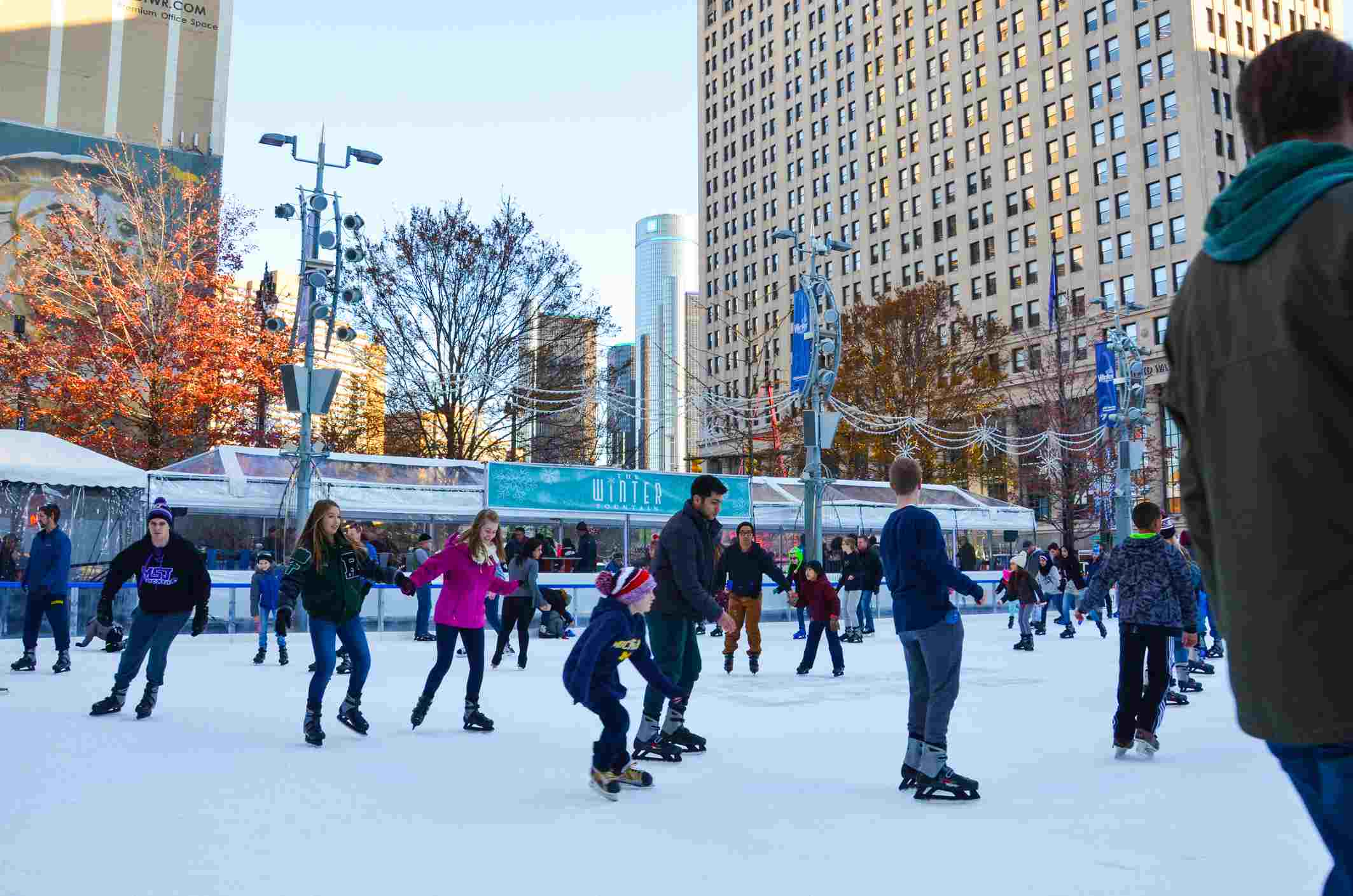 People skate in the rink at Campus Martius park in downtown Detroit.