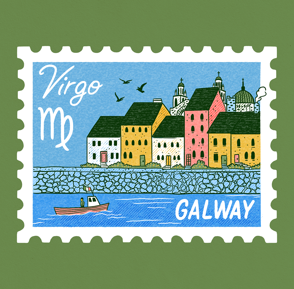 An illustration of a stamp with a scene of Galway showing colorful houses along the water with a boat passing by. Virgo is written on it.