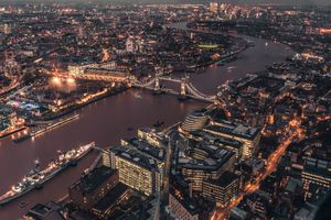 The London cityscape lit up at night