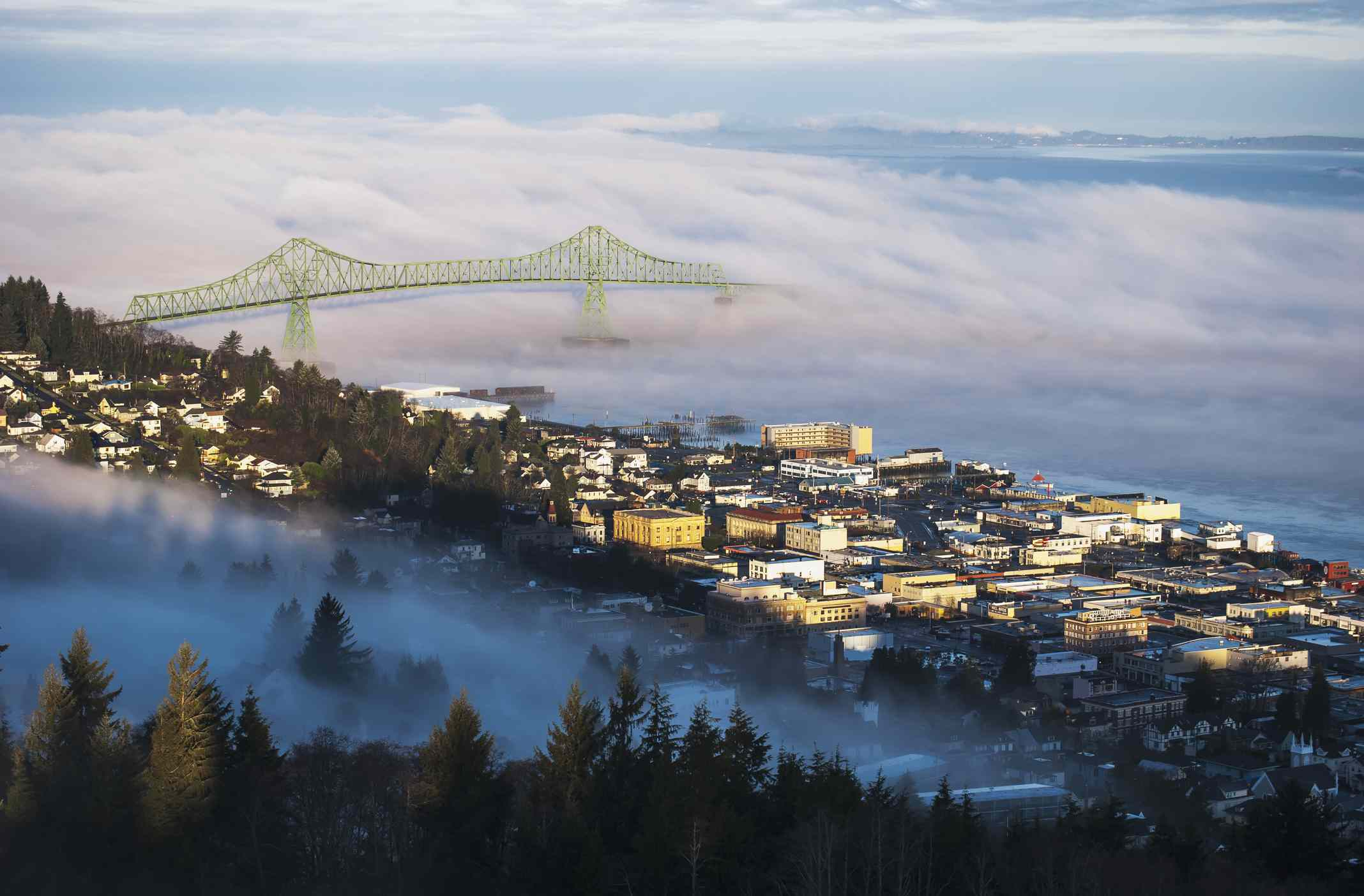 Fog hovers over the Columbia River