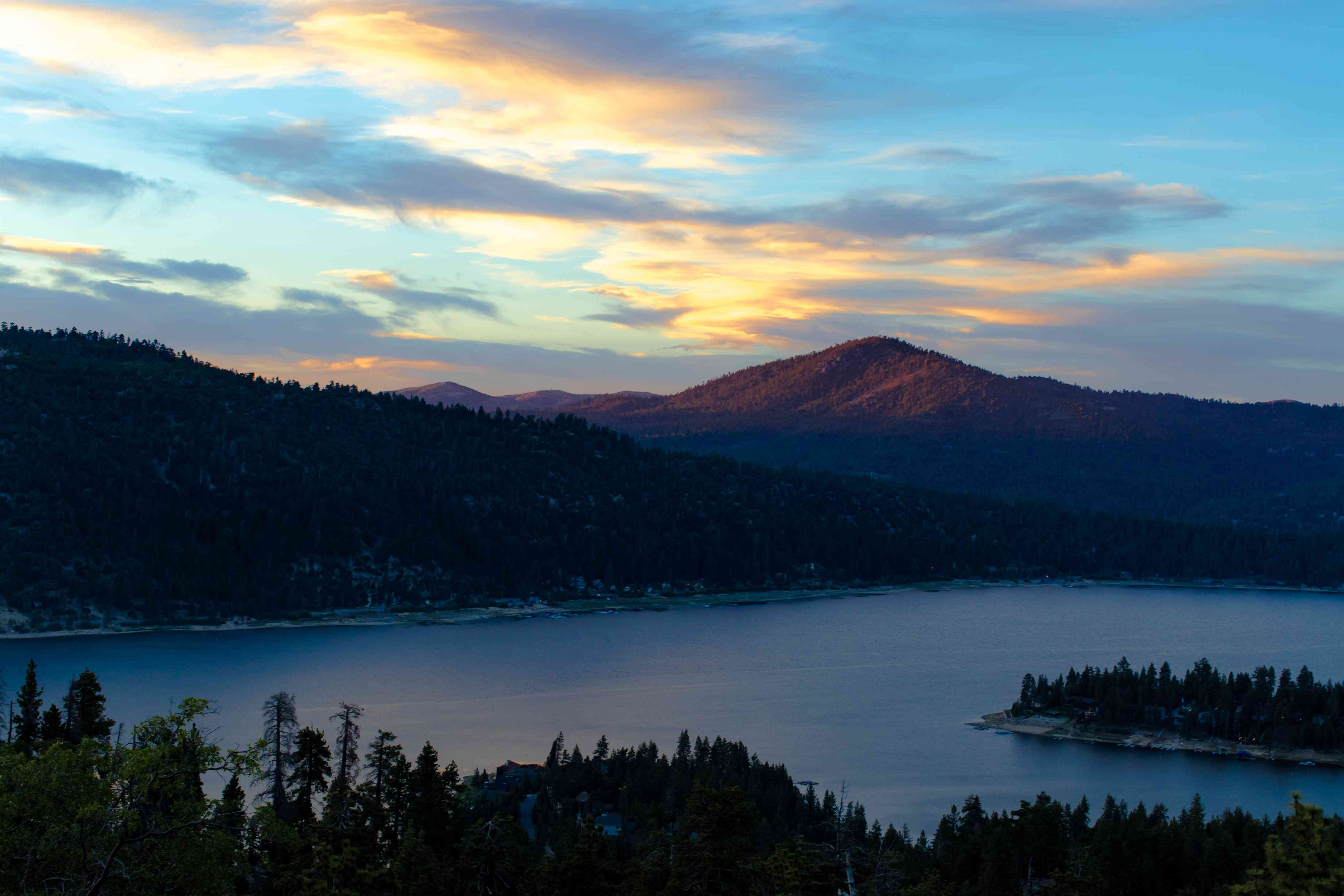 lake and mountains in Big Bear at sunset