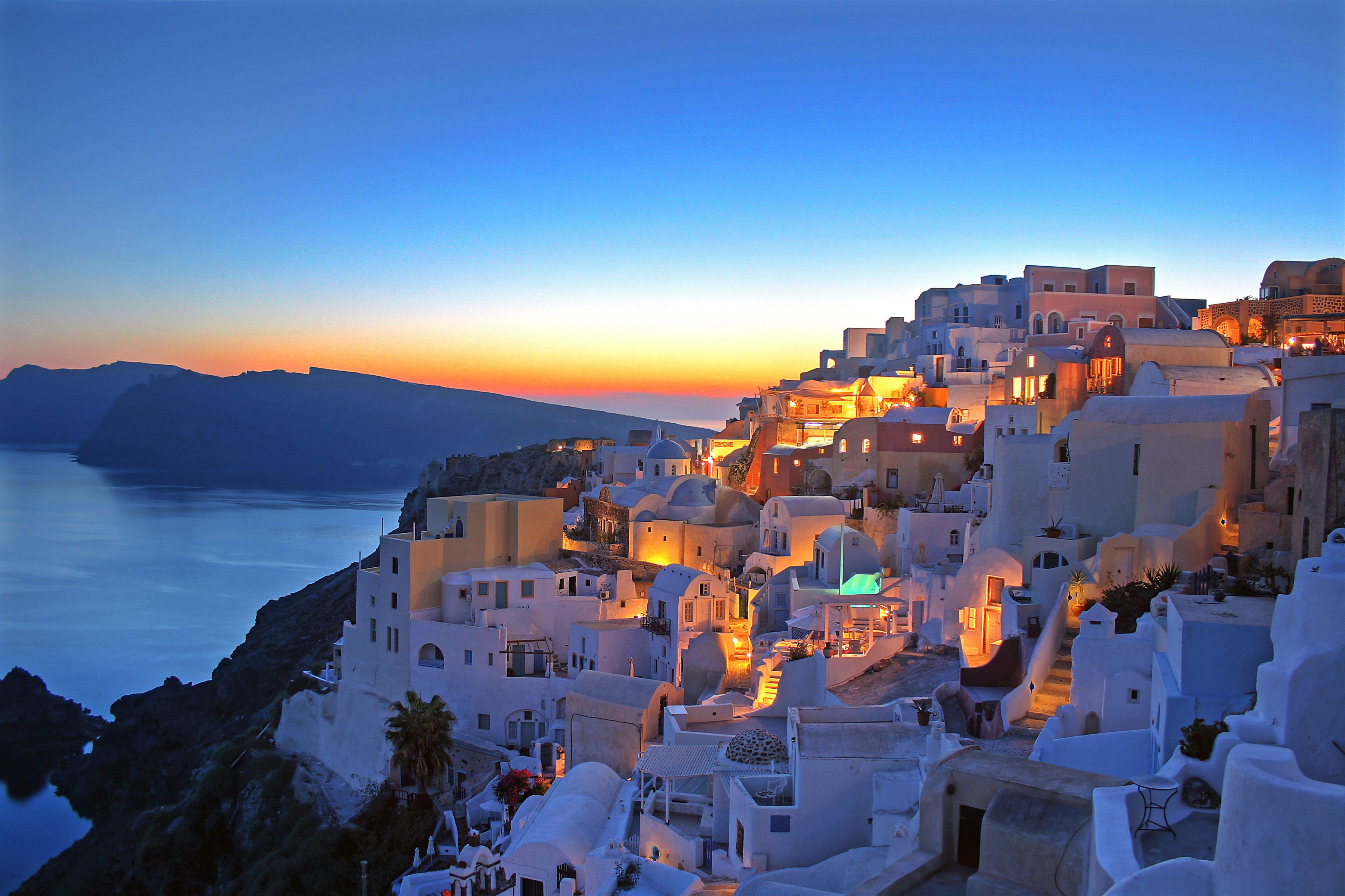 puesta de sol de santorini