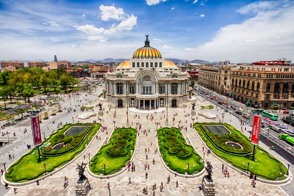 Aerial view of Mexico City's Fine Arts Palace (Palacio de Bellas Artes)