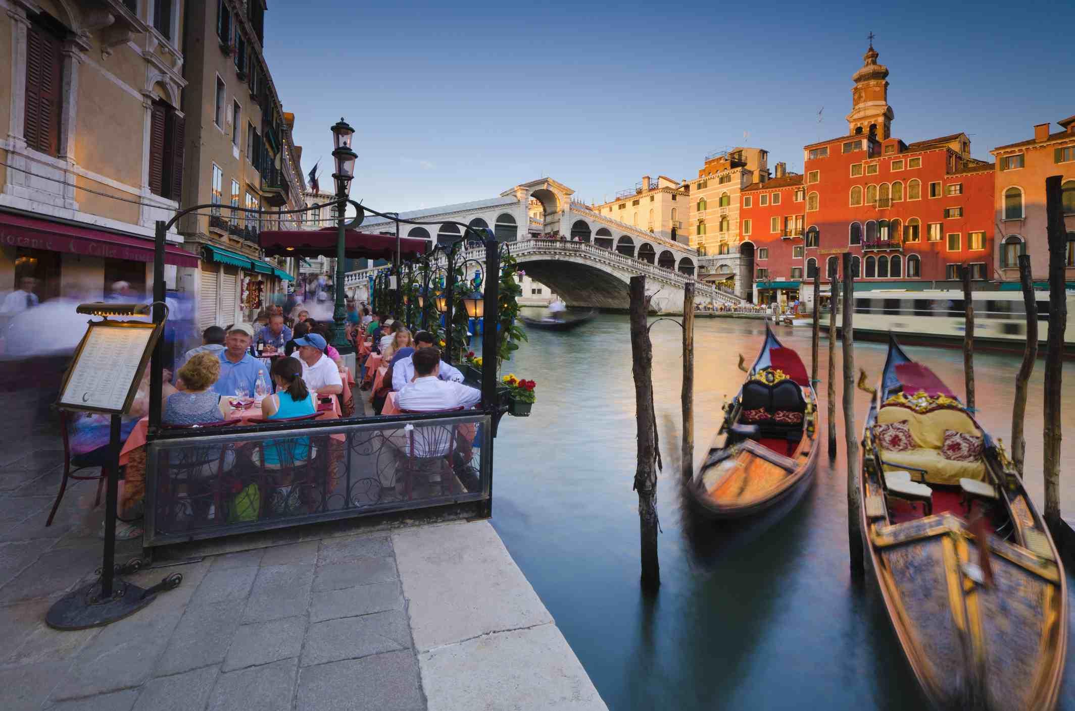 Venice Italy gondolas and sunset