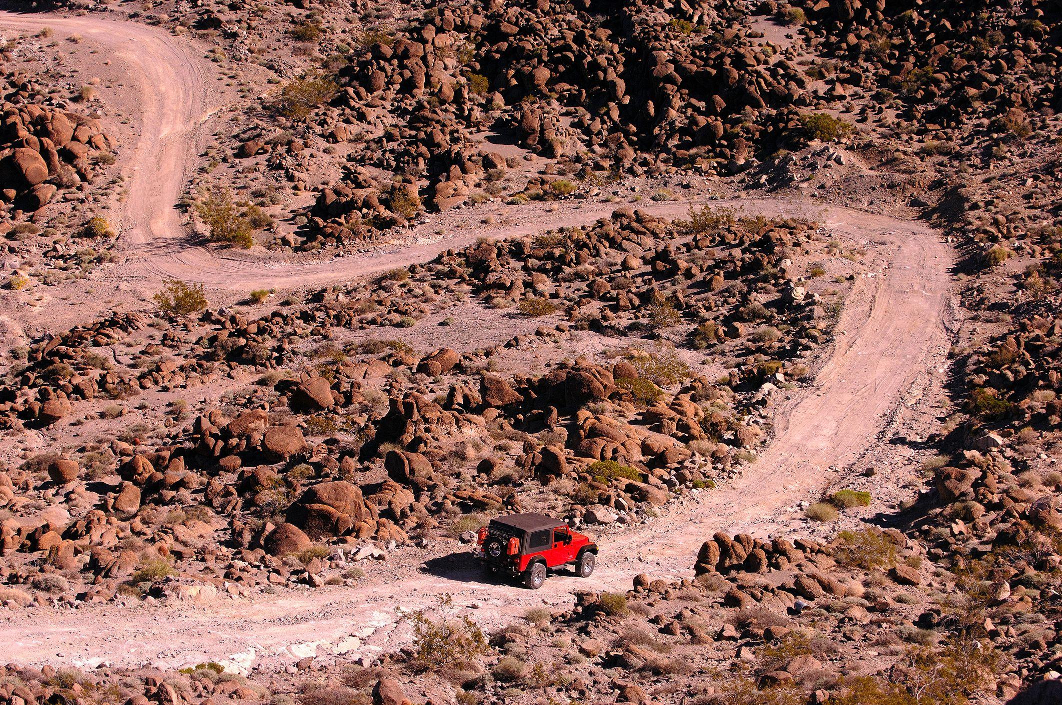 Jeep exploring Trail within Bristol Mountains, Mojave Desert, California, USA